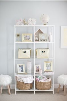 Nursery shelves styled to perfection!