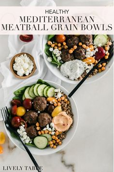 Mediterranean meatball bowls with Greek-inspired beef meatballs, whole grain farro, fresh veggies, chickpeas, tzatziki, and feta make a delicious mix and match family dinner that's healthy and filling. #meatballs #grainbowl #powerbowl #familydinner #healthyfamilydinner #batchcooking #mealprep #healthydinnerrecipes #greekgrainbowl #mediterraneandiet #mediterraneanbowl #easyhealthydinners #groundbeef #mealprepideas #healthymealprep #greekrecipes #tzatzikisauce #chickpeas #weeknightdinner