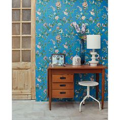 375066 - Willem Sapphire Painted Garden Wallpaper - by Eijffinger