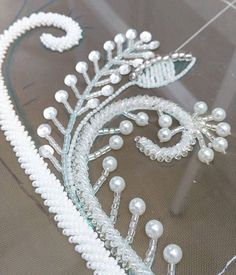 Pearl Embroidery, Tambour Embroidery, Blackwork Embroidery, Bead Embroidery Patterns, Couture Embroidery, Embroidery Monogram, Beaded Jewelry Patterns, Hand Embroidery Designs, Embroidery Applique