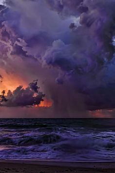 "plasmatics-life: "" Florida Coastal Storm | By Ken Cave "" Purple Sky, Storm Clouds, Sky And Clouds, Beautiful Sky, Beautiful World, Amazing Photography, Nature Photography, Scenic Photography, Landscape Photography"