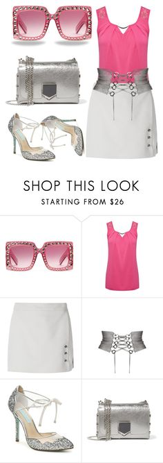 """""""Untitled #3008"""" by bren-johnson ❤ liked on Polyvore featuring Gucci, M&Co, Giuliana Romanno and Jimmy Choo"""