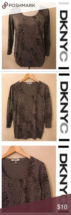"""DKNYC Grey & Brown Leopard Sweater Small Worn twice. Nice condition. No issues. No fuzzies. Shown on my size 6 mannequin. Sleeve length 19"""" inches. Underarm to underarm 19.75"""". From back of neck to hem 26"""" inches. DKNYC Sweaters Crew & Scoop Necks"""