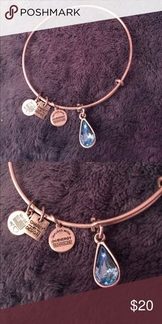 Brand New Alex and Ani Bracelet Silver Alex and Ani Bracelet with blue charm Alex & Ani Jewelry Bracelets