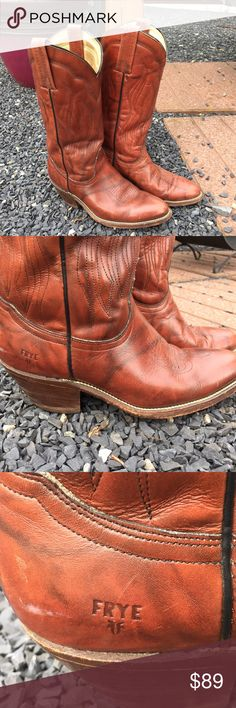 """Frye Cowboy Cowgirl Western Boots Size 8.5 D Size 8.5 D. Preowned but still a ton of life left in these. A few scuffs as pictured. Flat up against the wall to the tip of the boot measures: 11"""". Be sure to view the other items in our closet. We offer both women's and Mens items in a variety of sizes. Bundle and save!! Thank you for viewing our item!! Frye Shoes Heeled Boots"""