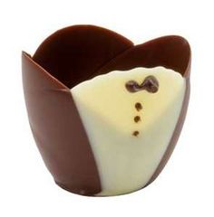 Tuxedo Chocolate Cups - ideal for weddings or dinner parties. Can be filled with fruit, mouse, candy or many other fillings and guaranteed to put a smile on the face of everyone.  #wedding #tuxedo #chocolate #event #dinner