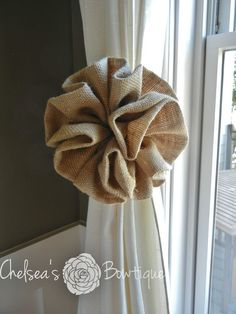 Burlap Curtain Tie Back  8.5 by chelseasbowtique on Etsy, $25.00