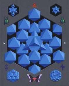 acrylic on masonite x cm = 1 octahedron + 8 tetrahedrons octahedrons tetrahedrons = 1 octahedron plenum Sacred Geometry, Cube, Symbols, Deviantart, Pattern, Patterns, Model, Glyphs, Swatch