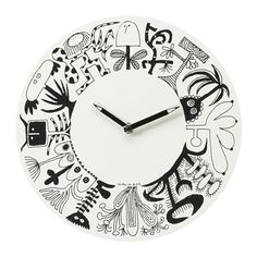 IKEA - ÖNSKEDRÖM, Wall clock, Half past a cactus; quarter past a palm. Pencil hands point to imaginative drawings by the renowned Swedish illustrator and graphic designer Olle Eksell.