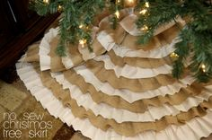 a friend said she was making a tree skirt with burlap and i went and bought 3 yards before i even knew what it was going to look like… i knew i would love it. and per usual, i was right. she sent me this chick's tutorial on it. though you don't really need one. … Read more...
