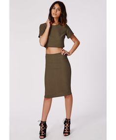 Alica Crepe Midi Skirt Khaki - Skirts - Midi Skirts - Missguided | Ireland