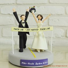 Hey, I found this really awesome Etsy listing at https://www.etsy.com/listing/162554447/marathoner-couple-custom-weddng-cake