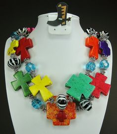 """""""Colorful Faith #3"""" MULTICOLOR CROSS ZEBRA Chunky Western by www.CayaCowgirlCreations.etsy.com - $56.50"""