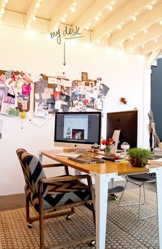 Bri Emery's desk at the *SUPER* coworking space featured on Apartment Therapy. The lighting.