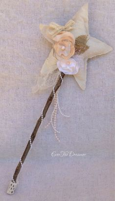 Woodland Fairy Wand vintage burlap calico star wand fairy party photography prop branch fairytale costume
