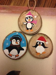 Penguin wood slice ornaments
