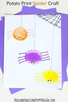 Potato Print Spider Craft for kids