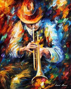 Mood Indigo — Palette Knife Figure Of Musician Music Wall Art Oil Painting On Canvas By Leonid Afremov - Size: X Inches x Oil Painting Pictures, Oil Painting On Canvas, Figure Painting, Painting Art, Popular Paintings, Music Wall Art, Jazz Art, Oil Painting Reproductions, Leonid Afremov Paintings
