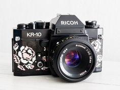 Ricoh KR-10 + Lens of choice! functional vintage 35 mm film SLR camera for lomography, XR1000S, Genuine Leather, Neckstrap & New Lightseals!