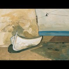 Felix Nussbaum-White Boat by a Wall,1933, 47.00 x 62.00 cm, gouache and oil on paper