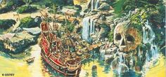 This acytaully came to be at Disneyland, the pirate ship was a tuna fish restaurant, (gross) and the Skull Rock's eyes glowed at night! Walt Disney Imagineering, Walt Disney Co, Old Disney, Vintage Disney, Disney Art, Disney Concept Art, Disney Kunst, Disney Sketches, Conceptual Art