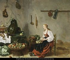 A Kitchen Interior With A Maid Cleaning Turnips Sybrand Van Beest born about 1610 and died in 1674