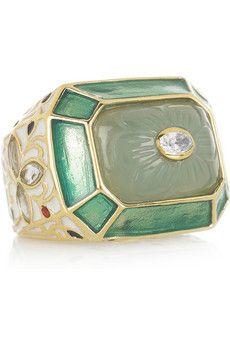 ISHARYA  Jaisel 18-karat gold-plated chalcedony ring  $240