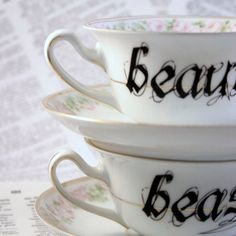 Beauty and Beast teacup and saucer set