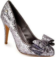 Pewter Sparkle Court Shoes Ladies