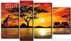 Paisagem de nascer e pôr-do-sol – pinturas em tela