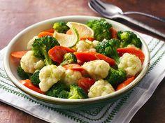 verduras al vapor con mantequilla de chile y limon