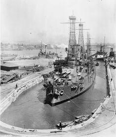 USS Ohio in drydock at Mare Island August Naval History, Military History, Navy Coast Guard, Us Battleships, Us Navy Ships, United States Navy, Aircraft Carrier, Model Ships, Water Crafts