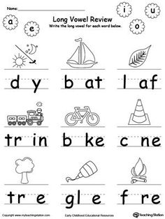 Identify and write the missing long vowel in this printable worksheet. Your child will look at the picture, pronounce its name and identify the missing vowel in the word, then write it. Long Vowel Worksheets, Kindergarten Math Worksheets, Phonics Worksheets, Kindergarten Reading, Printable Worksheets, Vowel Activities, Vocabulary Activities, English Phonics, English Worksheets For Kids