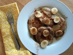 """Banana protein pancakes. I was leery at first because I do not like """"protein powders"""" and their artificial sweeteners. No protein powder here, and they look pretty yummy!"""