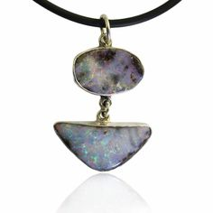 Blue, Green, Orange, Purple & Red Solid Boulder Opal Pendant | Australian Opals