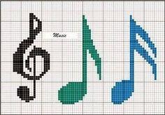 Resultado de imagem para grafico ponto cruz notas musicais