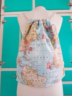 Backpack traveller-world map-backpack by LaCostureraPirata on Etsy Cute Backpacks, Girl Backpacks, World Map Fabric, Cork Purse, Costura Diy, Adidas Backpack, String Bag, Travel Kits, Printed Bags