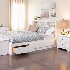 White queen bedframe with 6 drawers and headboard with shelves. From 354 dollars with free shipping.