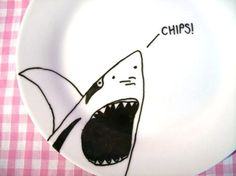 Decorative Shark Plate on porcelain featuring a hand drawn illustration. £10.00, via Etsy.