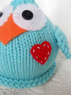 Knit Hat Baby Newborn Infant Cap Love Bird Blue by LittleBirdLucy, $22.99