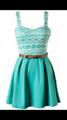 Pretty turquoise blue strappy tribal printed dress with brown belt.