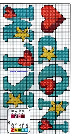 Abc zemër e yll Cross Stitch Letters, Cross Stitch Baby, Modern Cross Stitch, Cross Stitch Designs, Loom Patterns, Stitch Patterns, Cross Stitching, Cross Stitch Embroidery, Crochet Alphabet