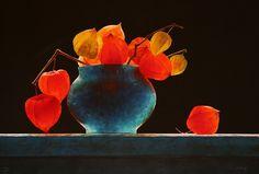 By Ottorino De Lucchi Still Life Photos, Still Life Art, Still Life Flowers, Bleu Turquoise, Chinese Lanterns, Still Life Photography, Ikebana, Beautiful Roses, Color Inspiration