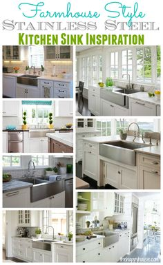 Are you considering a farmhouse sink? Torn between a stainless steel farmhouse style kitchen sink and a classic white one? Here are several stunning kitchens with beautiful stainless steel farmhouse style kitchen sinks. Kitchen Sink Inspiration, Kitchen Remodel, Farmhouse Style Kitchen, Trendy Kitchen, Kitchen Dining Room, Kitchen Redo, Home Kitchens, Kitchen Styling, Farmhouse Style