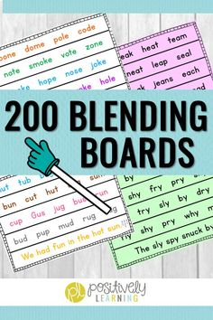 Blending Boards for Fluency - 200 blending boards that follow a phonics scope and sequence for K-2. There's color-coded and a low-ink format to choose from. These are great to display whole group or print out for small groups. I also send them home to families for extra fluency practice! #fluency #phonicsblending