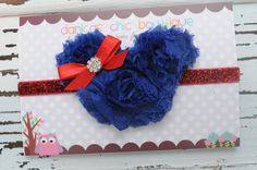 Fourth of July Minnie Mouse shabby headband. Red/Royal Blue with a red bow embellishment <3 $10.50 plus shipping.  Made by Danica's Chic Bowtique.