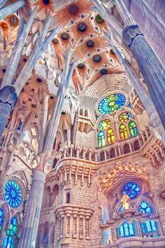 Sagrada Familia, #Barcelona, #Spain -- Best interior photo I've seen -- captures the spirit of it perfectly!