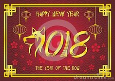 Chinese Greeting Card for New Year 2018 design template for Year of dog with good and new design