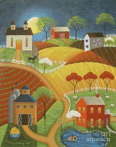 """Moonlight"" Folk Art Painting by Mary Charles Barn, Farm, Moon"