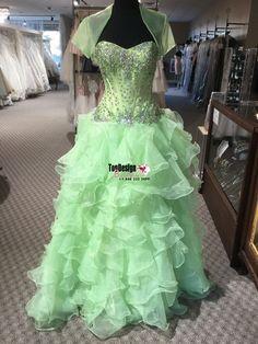 Wholesale 2017 Sweet 15 Dress Mint green Ruffled Quinceanera Dress